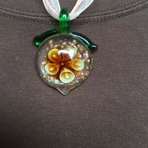 Blown glass pendent with ribbon neck chain